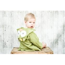 Uil groen baby badjas